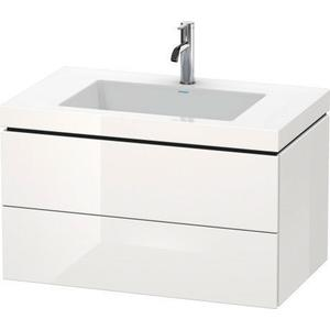 Furniture Washbasin C-bonded With Vanity Wall-mounted, White High Gloss (lacquer)