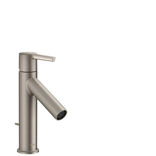 Stainless Steel Optic Single lever basin mixer 100 with lever handle and pop-up waste set