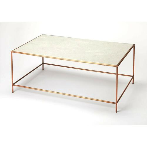 This elegant rectangular coffee table is a stunning addition to any modern living room or office. Forged from iron, its rose gold finished base beautifully complements a white marble top.