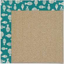 "Creative Concepts-Sisal Go Fish Turquoise - Rectangle - 24"" x 36"""