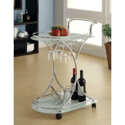 See Details - Contemporary Chrome Serving Cart