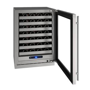 """U-LineHwc524 24"""" Wine Refrigerator With Stainless Frame Finish and Field Reversible Door Swing (115 V/60 Hz Volts /60 Hz Hz)"""