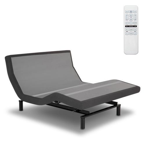 Prime Adjustable Bed Base with Pillow Tilt and (4) USB Ports, Flint Onyx Finish, Split King
