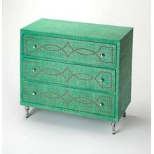 This stunning modern console chest is an inspired addition in a living room, bedroom or entryway. Fully wrapped in vibrant emerald green dyed raffia, it is expertly crafted from mahogany wood solids and wood products. Including three storage drawers with felt-lined bottoms, it boasts silver finished nailheads in a bold intersecting semi-circular pattern on each drawer front with matching silver finished drawer pulls and cascading metal legs.