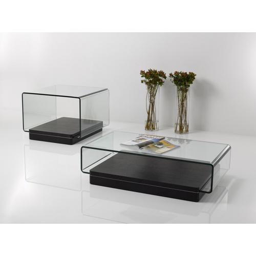 VIG Furniture - Modrest Vitro Modern Glass and Oak End Table