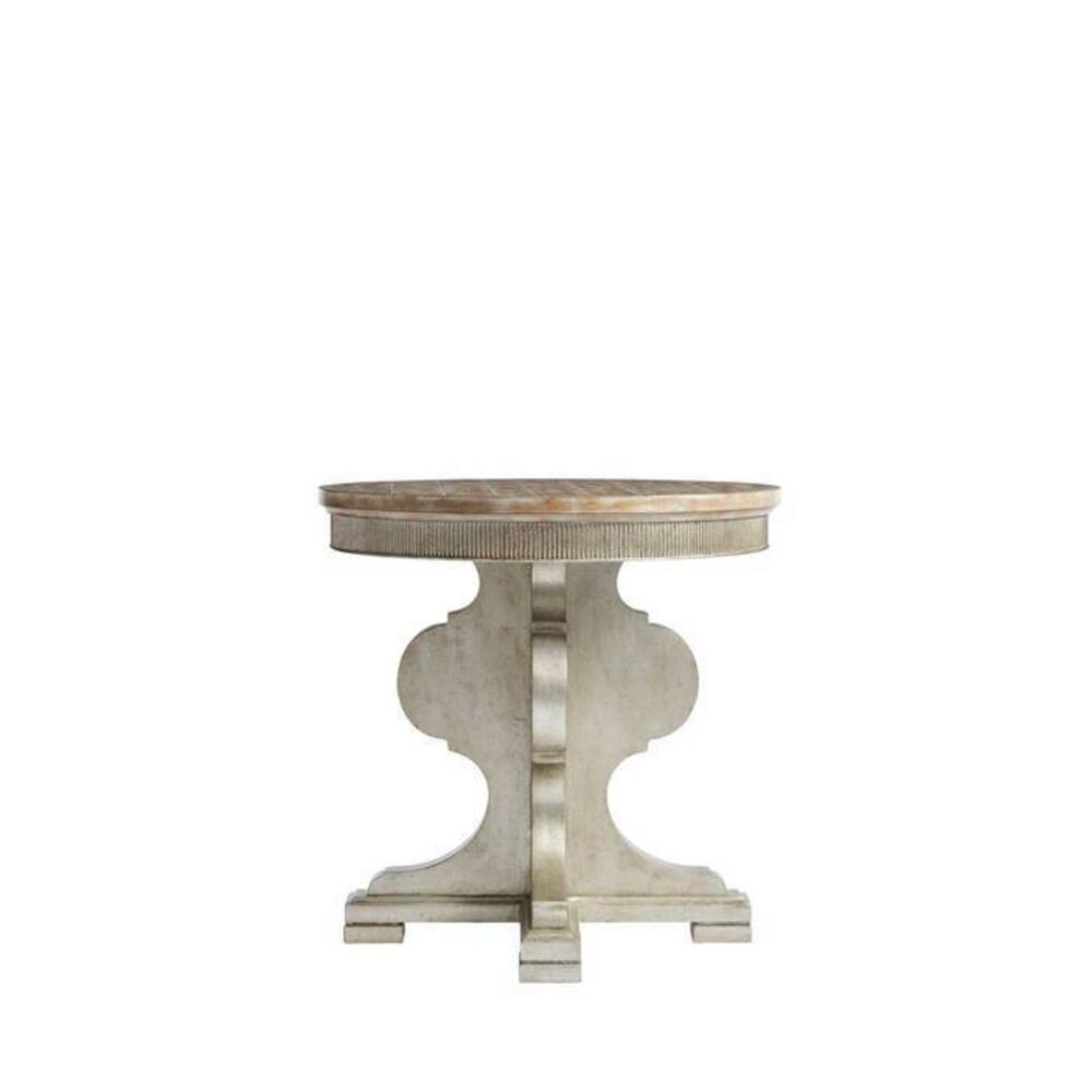 Juniper Dell Round Lamp Table - Tarnished Silver Leaf