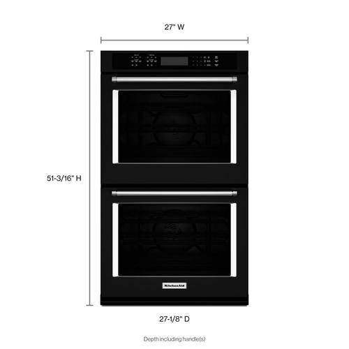 """KitchenAid - 27"""" Double Wall Oven with Even-Heat™ True Convection Black"""
