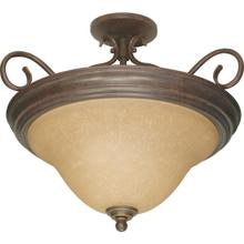 Castillo - 3 Light Semi-Flush with Champagne Linen Washed Glass - Sonoma Bronze Finish