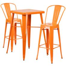 23.75'' Square Orange Metal Indoor-Outdoor Bar Table Set with 2 Stools with Backs