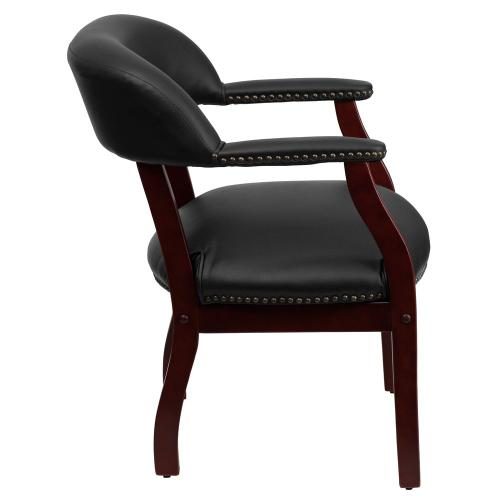 Black Vinyl Luxurious Conference Chair with Accent Nail Trim