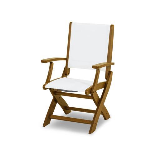 Teak & White Coastal Folding Chair