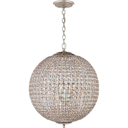 AERIN Renwick 4 Light 23 inch Burnished Silver Leaf Sphere Chandelier Ceiling Light, Large