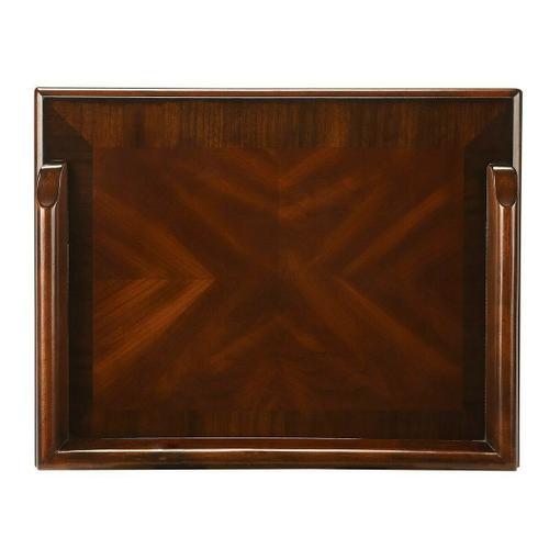 Selected hardwoods and choice cherry veneers. Four way matched cherry veneer top with cherry veneer end grain border.