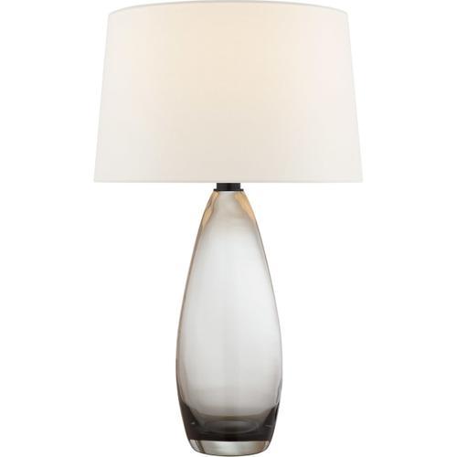 Chapman & Myers Myla 30 inch 100 watt Smoked Glass Table Lamp Portable Light, Large
