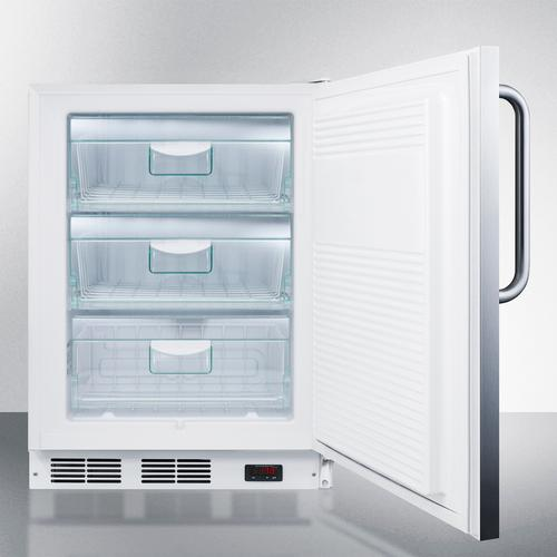 Product Image - ADA Compliant Freestanding Medical All-freezer Capable of -25 C Operation, With Lock, Stainless Steel Door and Towel Bar Handle