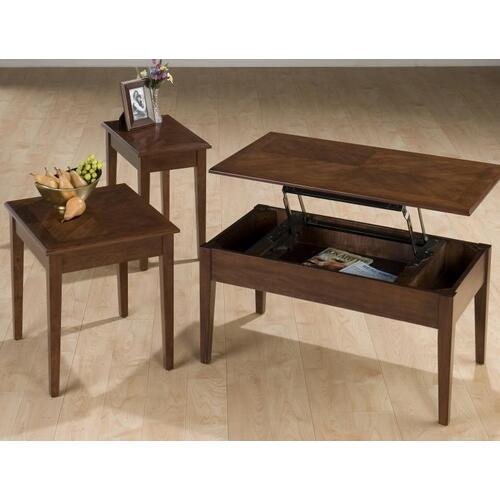 Lift-top Cocktail Table W/ Book Match Inlay - Packed W/ End and Chairside Table In One Carton