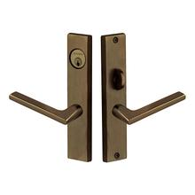 Satin Brass and Black Detroit Escutcheon Entrance Set