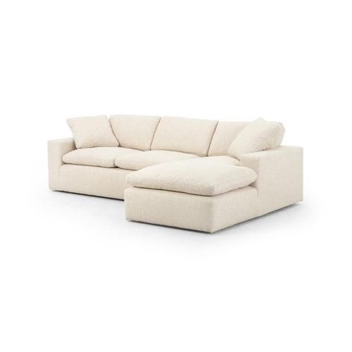 Right Arm Facing Configuration Thames Cream Cover Plume Two-piece Sectional-136""