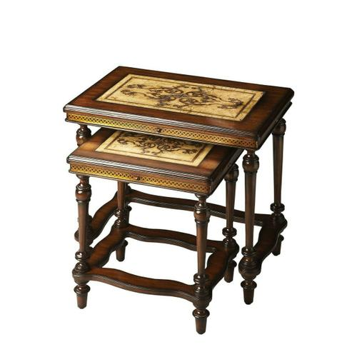 Butler Specialty Company - The tabletops feature etchings of art nouveau-inspired botanic designs framed in mahogany. The etched-brass apron combines with meticulously turned legs and carved stretchers, also in mahogany, to complete this picture of consummate artistry and craftsmanship.