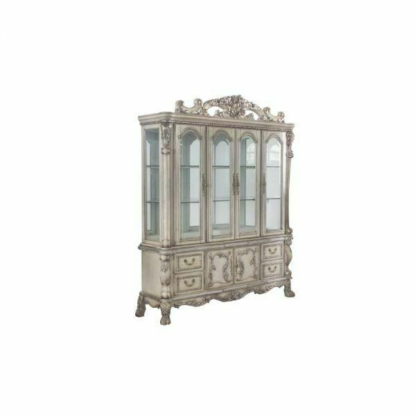 ACME Dresden Hutch & Buffet - 68177 - Traditional, Vintage - Wood (Poplar), Wood Veneer, Poly-Resin, Glass, Mirror - Vintage Bone White