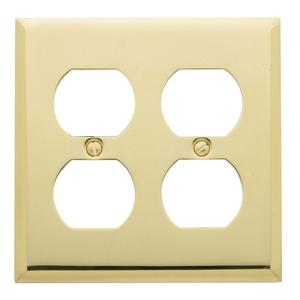 Polished Brass Beveled Edge Double Duplex Product Image