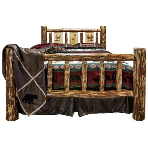 Glacier Country Collection Spindle Style Beds with Storage Featuring Laser Engraved, 3 Panel Headboards