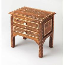 Product Image - This beautifully handcrafted bone inlay accent chest is a treasure from the Far East. Crafted from sheesham wood solids and wood products, its wondrous botanical design is painstakingly created by carving into the wood and inlaying one individual piece of bone at a time. Blending artistry with function, it features two convenient drawers with carved bone pulls, and is a great addition in the living room or bedroom.