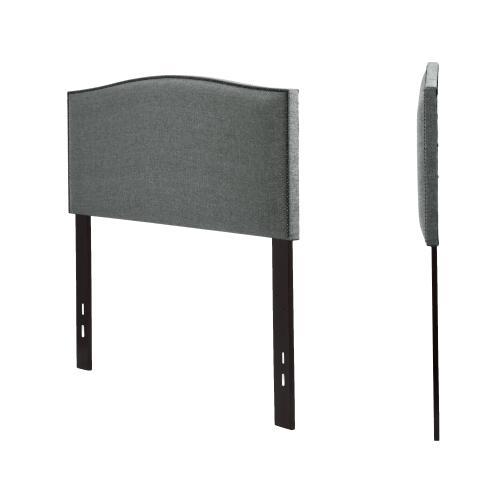 Leggett and Platt - Easton Upholstered Headboard with Adjustable Height and Sloping Nailhead Trim, Keystone Gray Finish, Full / Queen
