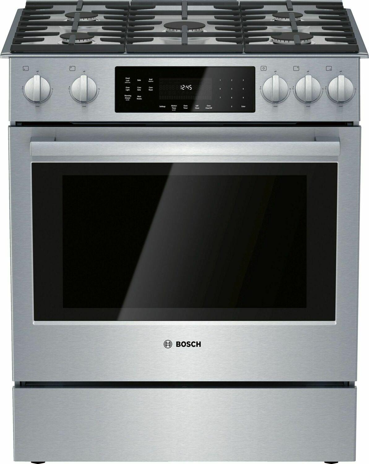 Bosch800 Series Gas Slide-In Range 30'' Stainless Steel Hgi8056uc