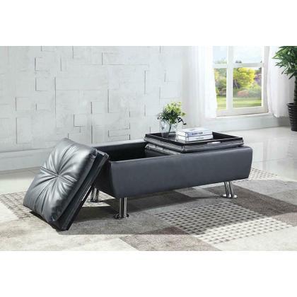 See Details - Dilleston Contemporary Grey Storage Ottoman