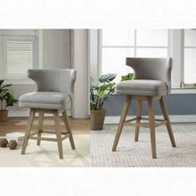 ACME Everett Counter Height Chair (Set-2) - 96460 - Fabric & Oak