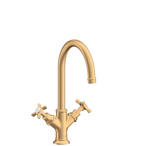 Brushed Brass 2-handle basin mixer 210 with cross handles and pop-up waste set