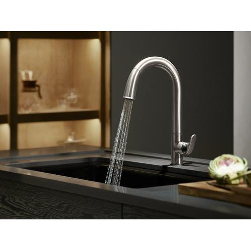 "Polished Chrome Touchless Kitchen Faucet With Black Accents, 15-1/2"" Pull-down Spout, Docknetik Magnetic Docking System, and A 2-function Sprayhead Featuring the New Sweep Spray"