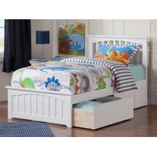 View Product - Mission Twin Bed with Matching Foot Board with 2 Urban Bed Drawers in White