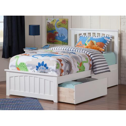 Mission Twin Bed with Matching Foot Board with 2 Urban Bed Drawers in White