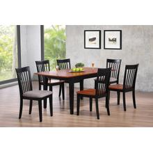 Slatback Side Chair with Upholstered Seat Charcoal