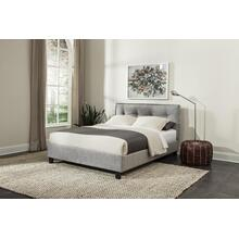 Gray Twin Upholstered Headboard & Slats
