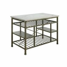 ACME Lanzo Kitchen Island (Counter) - 98402 - Marble & Antique Pewter