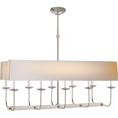 E. F. Chapman Linear Branched 10 Light 36 inch Polished Nickel Linear Pendant Ceiling Light in Long Natural Paper
