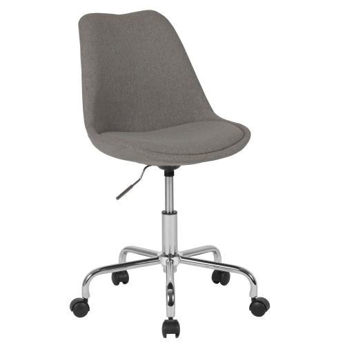 Mid-Back Light Gray Fabric Task Chair with Pneumatic Lift and Chrome Base