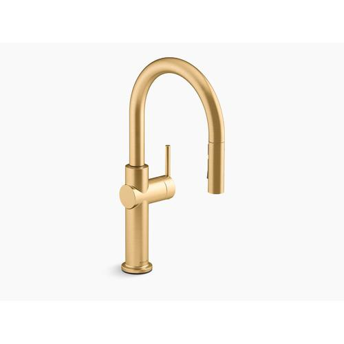 Vibrant Brushed Moderne Brass Pull-down Single-handle Kitchen Faucet