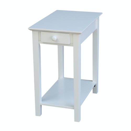 Narrow End Table in Pure White
