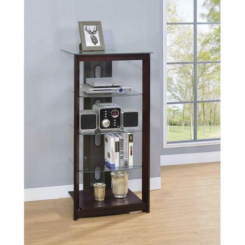 Product Image - Dark Brown Media Tower With Glass Shelves