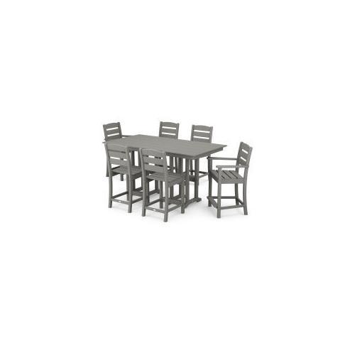 Polywood Furnishings - Lakeside 7-Piece Counter Set in Slate Grey