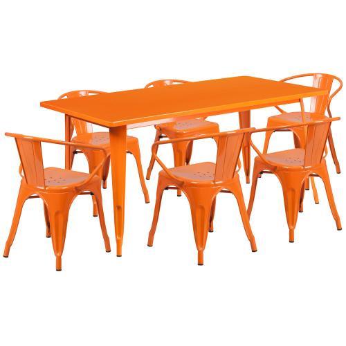31.5'' x 63'' Rectangular Orange Metal Indoor-Outdoor Table Set with 6 Arm Chairs