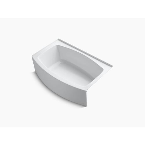 "Biscuit 60"" X 32-38"" Curved Alcove Bath With Bask Heated Surface and Right-hand Drain"