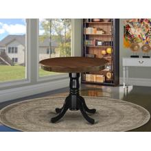 Antique Dining Table Made of Rubber Wood offering Walnut Finish Table Top, 36 Inch Round, Wirebrushed Black Pedestal