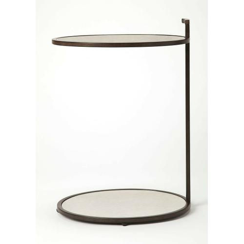 Butler Specialty Company - Clean, contemporary, and your sofa's new sidekick, this end table lends a helping hand holding lamps, morning cups of coffee, and more. Its ovular, minimalist design features a single Bronze finished iron side bar that connects the frame of the tabletop and base, the table top surface and bottom is Antiqued mirrored mirrored glass. Great for small spaces.