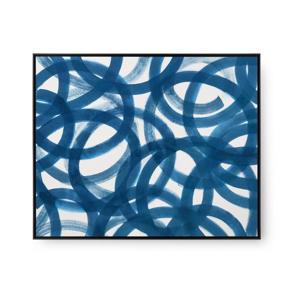 See Details - Circe Framed Silk Panel, Navy Blue
