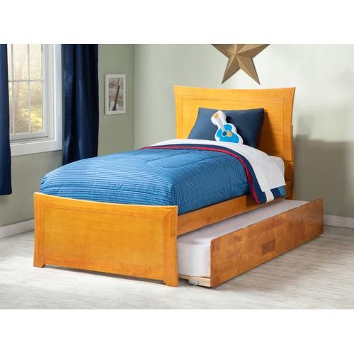 Metro Twin Bed with Matching Foot Board with Urban Trundle Bed in Caramel Latte